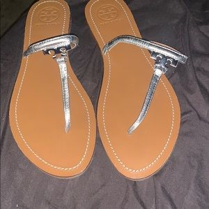 Tory Burch silver t strap sandals